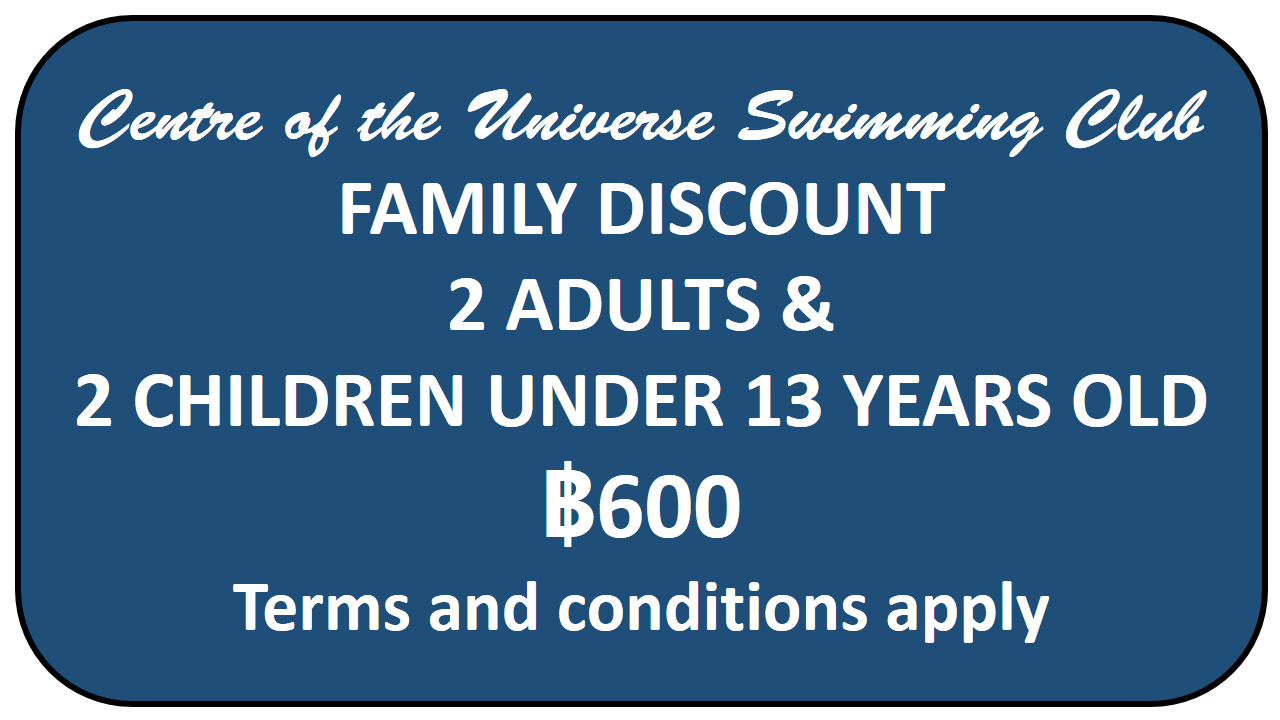 Family discount card for Centre of the Universe Chiang Mai Swimming Pool