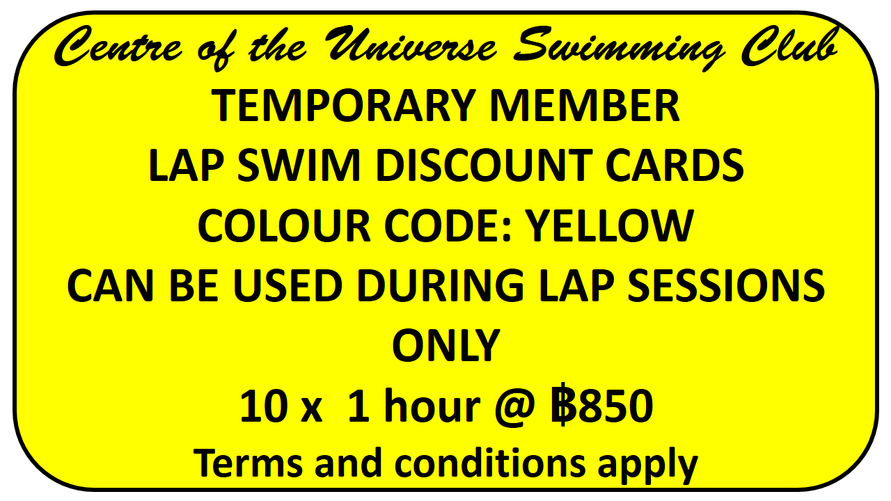 Explanation of lap swimming discount card for Centre of the Universe Chiang Mai Swimming Pool