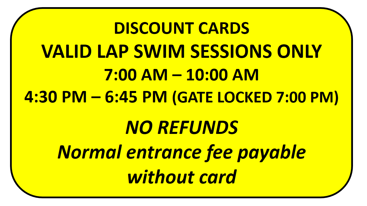 Sample lap swimming discount card for Centre of the Universe Chiang Mai Swimming Pool