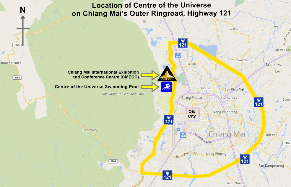 Location of CoU on Chiang Mai Outer Ringroad - Highway 121